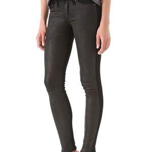 Rag & Bone Hyde lambskin leather panel jeans 25